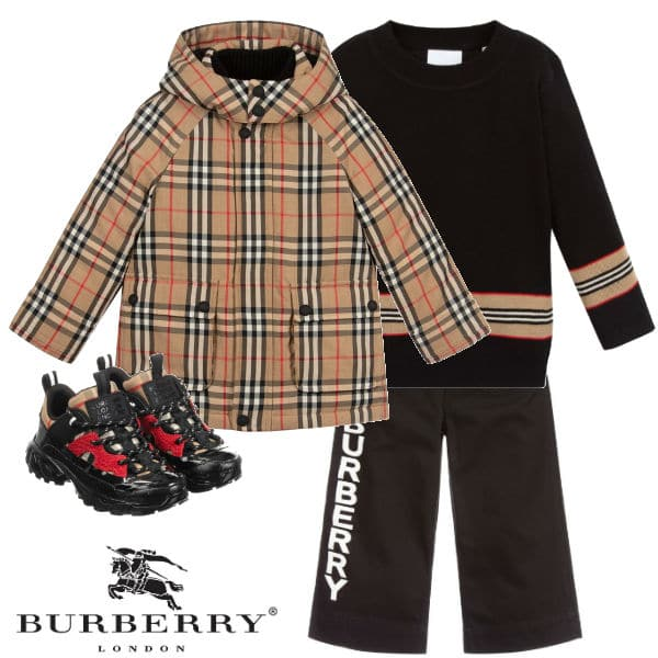 Burberry Kids Beige Vintage Check Down Coat Boys Black Sweater Jeans
