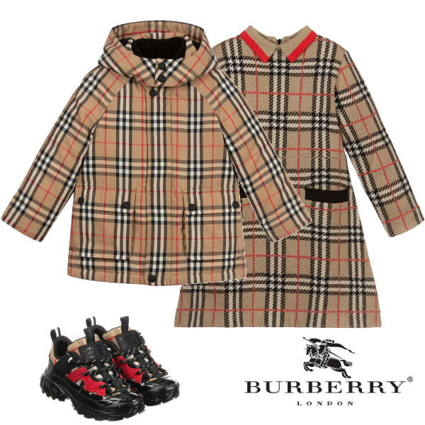 Burberry Kids Beige Vintage Check Down Coat Girls A Line Beige Check Dress
