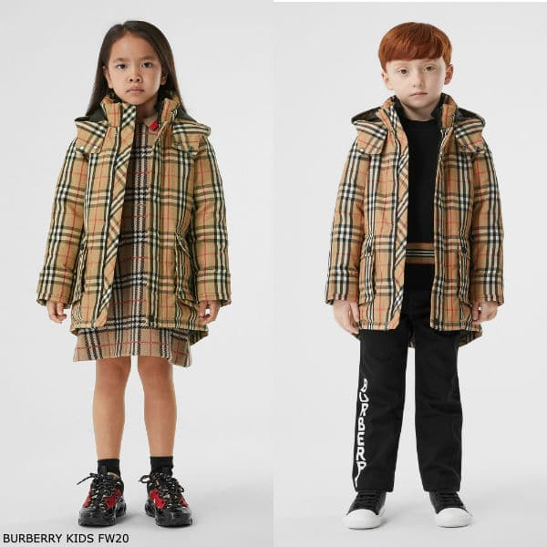 Burberry Kids Beige Vintage Check Down Filled Hooded Coat