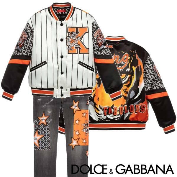 Dolce & Gabbana Kids Satin White Black Stripe Orange Tiger King Fabulous Bomber Jacket