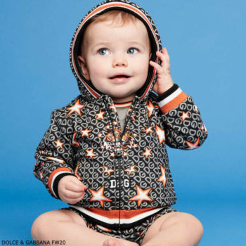 Dolce & Gabbana Baby Boy Black & Orange Logo Tiger Star Hoodie Tracksuit