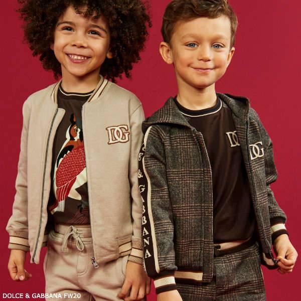 Dolce & Gabbana Boy Brown Check Zip-Up Hoodie Tracksuit