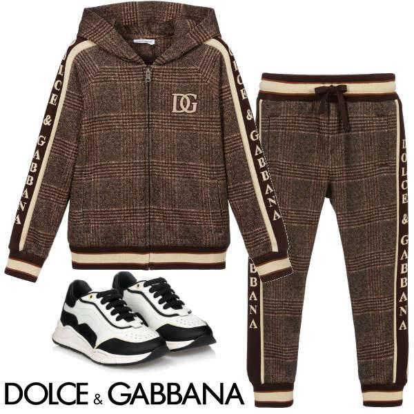 Dolce & Gabbana Boy's Brown & Beige Check Zip-Up Hoodie Tracksuit