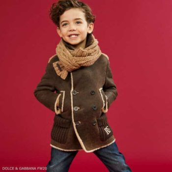Dolce Gabbana Boys Brown Soft Leather Shearling Coat