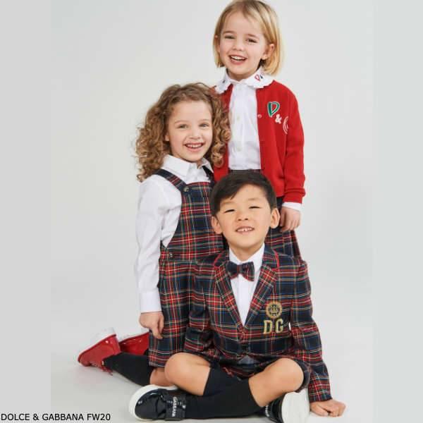 Dolce & Gabbana Kids Blue & Red Tartan Wool Blazer Pinafore Dress