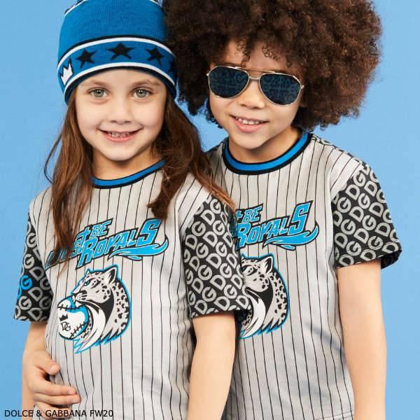 Dolce Gabbana Kids Grey & Blue Logo Just be Royals Cheetah Baseball T-Shirt
