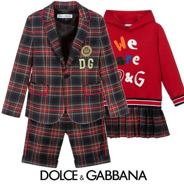 Dolce & Gabbana Kids Preppy Black Red Blue Tartan Blazer Jacket Dress
