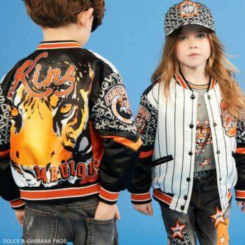 Dolce Gabbana Kids Satin White Black Stripe Orange Tiger King Fabulous Bomber Jacket
