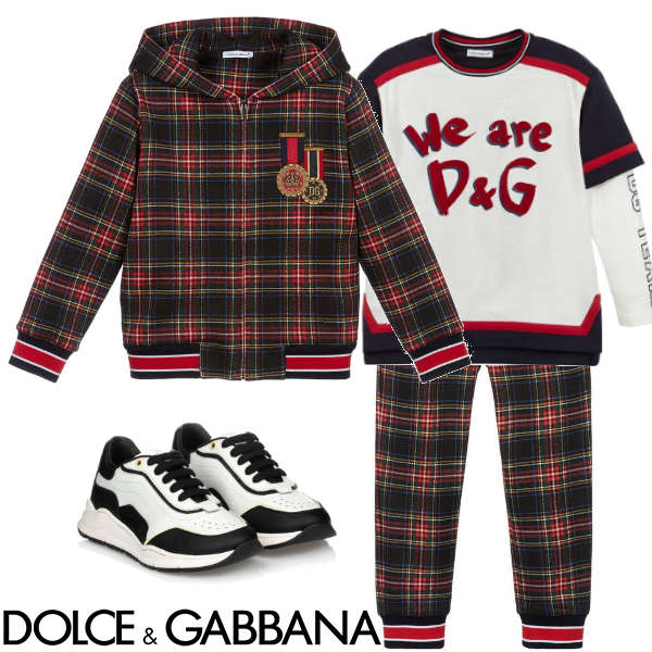 Dolce & Gabbana Kids featuring this Blue & Red Tartan Check Bomber Jacket