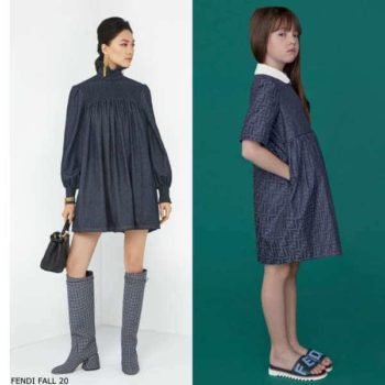 Fendi Girls Mini Me Blue Chambray FF Logo Dress