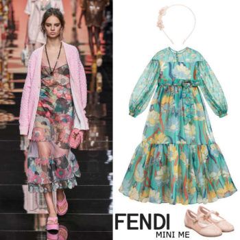 Fendi Girls Mini Me Green Floral Print Silk Organza Party Dress
