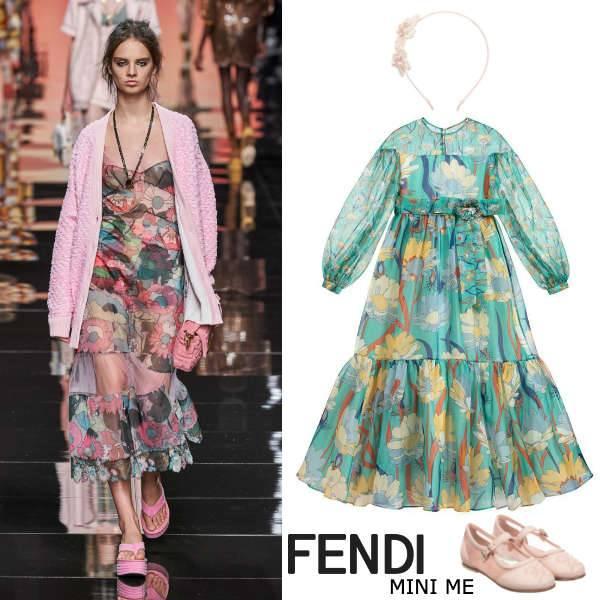 Fendi Girls Mini Me Green Floral Print Silk Organza Party Dress
