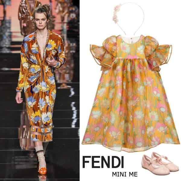Fendi Girls Mini Me Orange Floral Print Silk Organza Party Dress