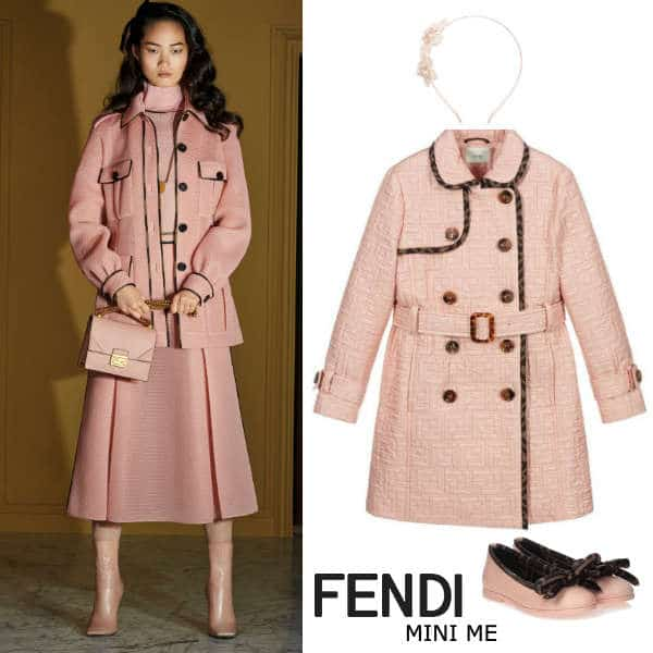 Fendi Girls Mini Me Pink Quilted Trench Coat Brown FF Logo Trim