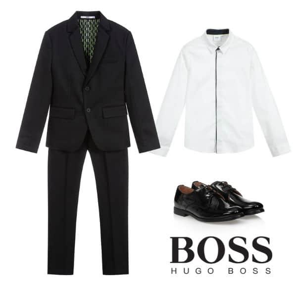 BOSS Kids Boys Navy Blue Christmas Suit