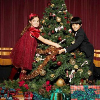 BOSS Kids Boys Navy Blue Christmas Suit Girls Junona Red Glitter Dress
