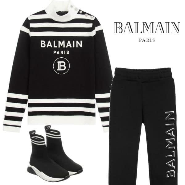 Balmain Girls Mini Me Black Stripe Logo Turtleneck Sweater Black Pants