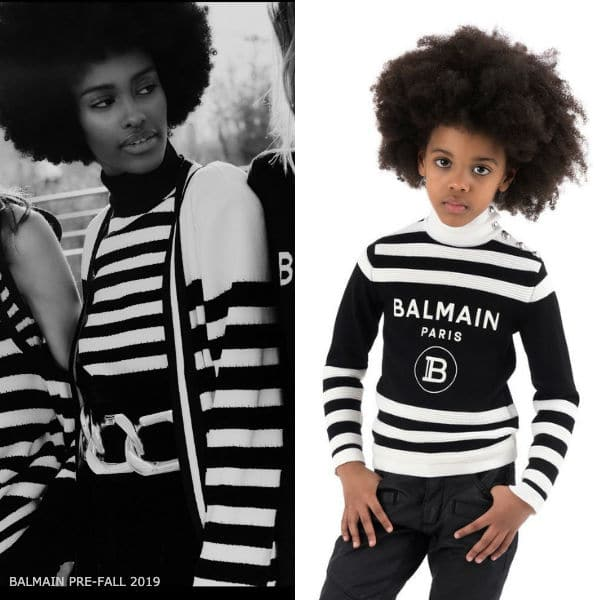 Balmain Girls Mini Me Black Stripe Logo Turtleneck Sweater