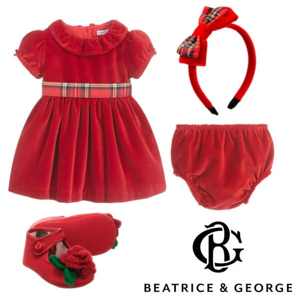 Beatrice George Baby Girl Red Velvet Christmas Dress