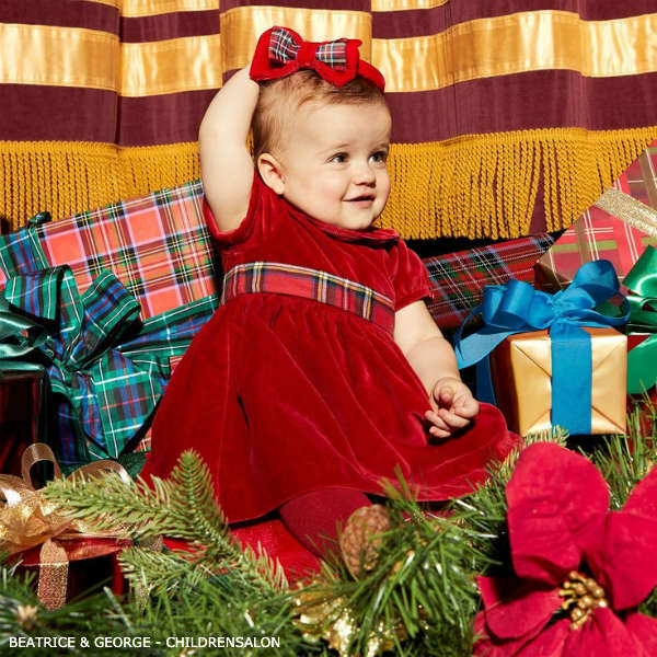 Beatrice George Baby Girl Red Velvet Christmas Party Dress