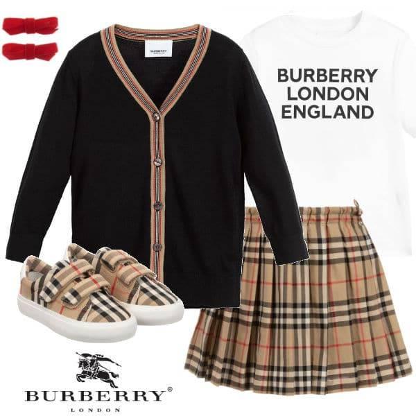 Burberry Kids Black Wool Cardigan Beige Vintage Check Skirt