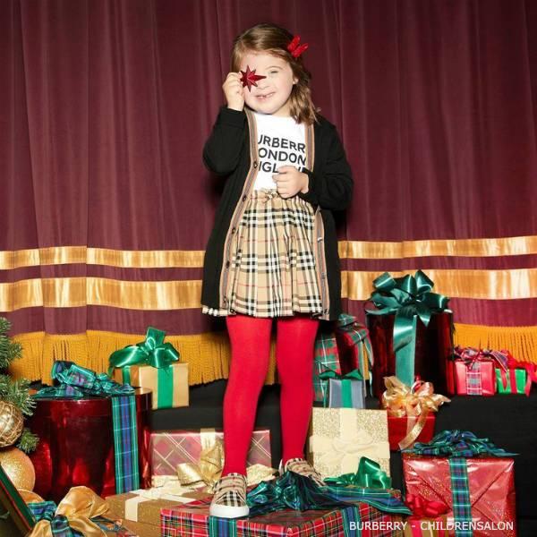 Burberry Kids Black Wool Cardigan & Beige Vintage Check Skirt