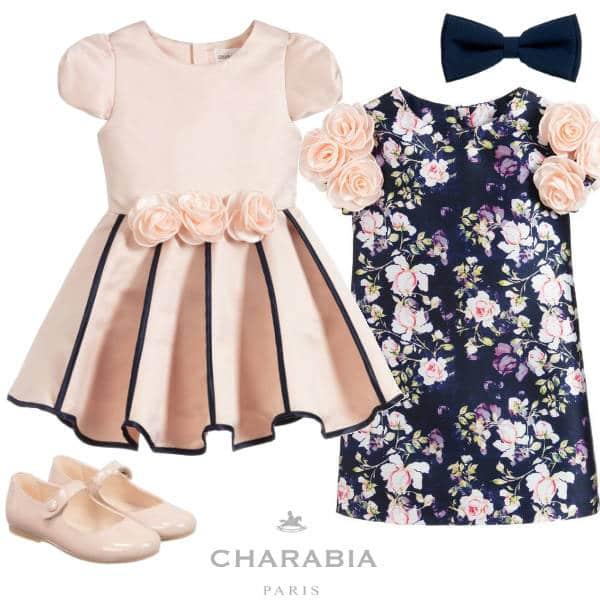 Charabia Paris Girls Navy Blue Pink Floral Dress Pink Blue Stripe Dress