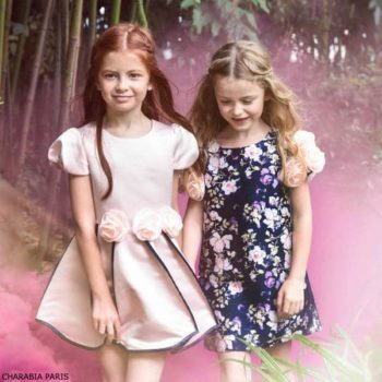 Charabia Paris Girls Navy Blue Pink Floral Party Dress
