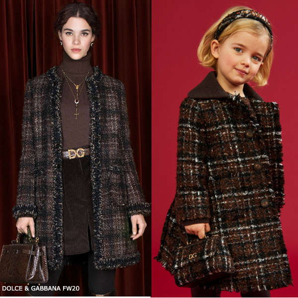 Dolce Gabbana Girls Mini Me Brown Black Check Coat