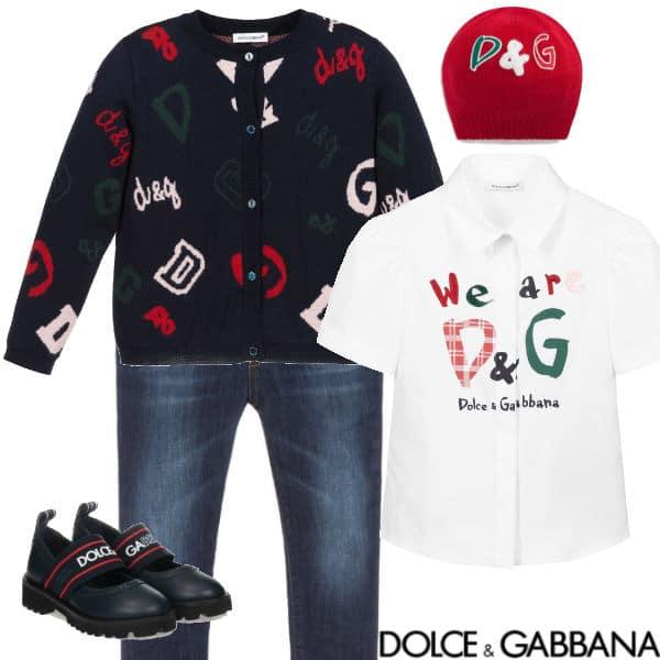 Dolce & Gabbana Girls Navy Blue We Are DG Logo Cardigan Red Knit Hat