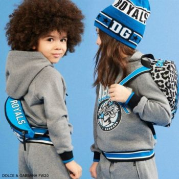 Dolce & Gabbana Kids Grey Fabulous Royals Hooded Sweatshirt Shorts