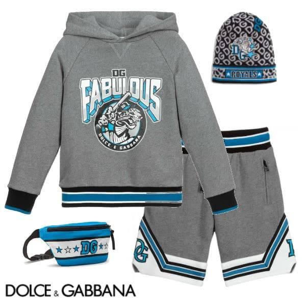 Dolce & Gabbana Kids Grey Fabulous Royals Hooded Sweatshirt Shorts Knit Hat
