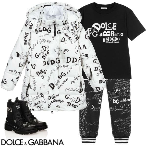 Dolce & Gabbana Kids White & Black Logo Script Ski Coat Jogger Pants