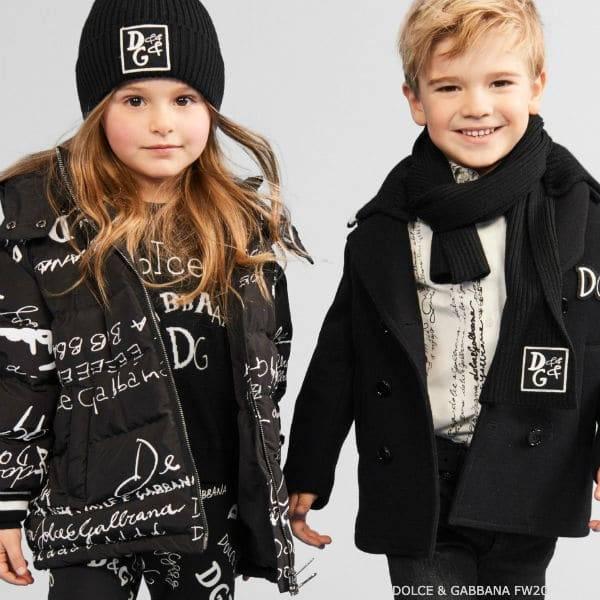 Dolce & Gabbana Kids White & Black Logo Script Ski Coat