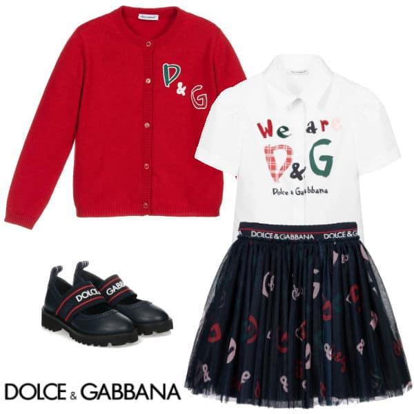 Dolce & Gabbana Red Cashmere DG Logo Cardigan Sweater Blue Tulle DG Skirt