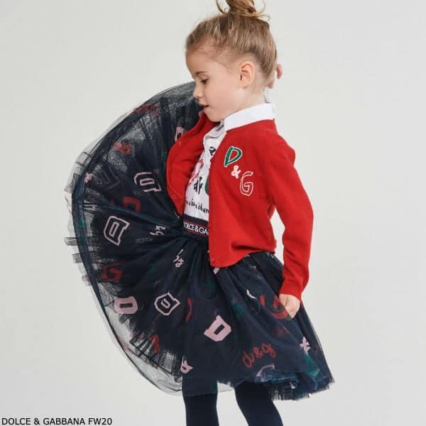 Dolce & Gabbana Red Cashmere DG Logo Cardigan Sweater Blue Tulle Skirt