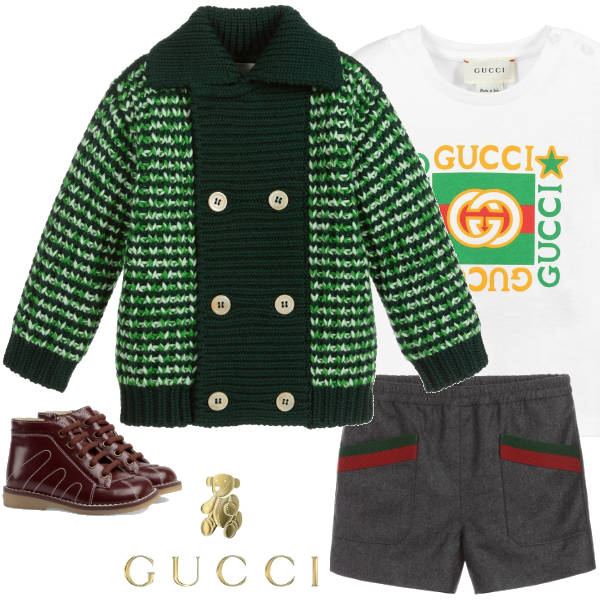 Gucci Baby Boys Green Chunky Knit Mouline Wool Pointed Collar Cardigan Sweater Shorts