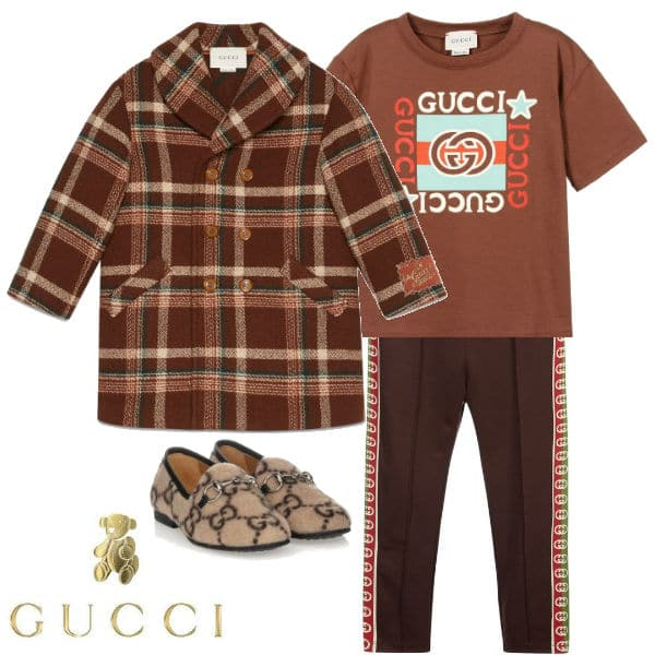 Gucci Boys Brown & Beige Guccis Monsters Check Wool Coat Brown GG Leggings