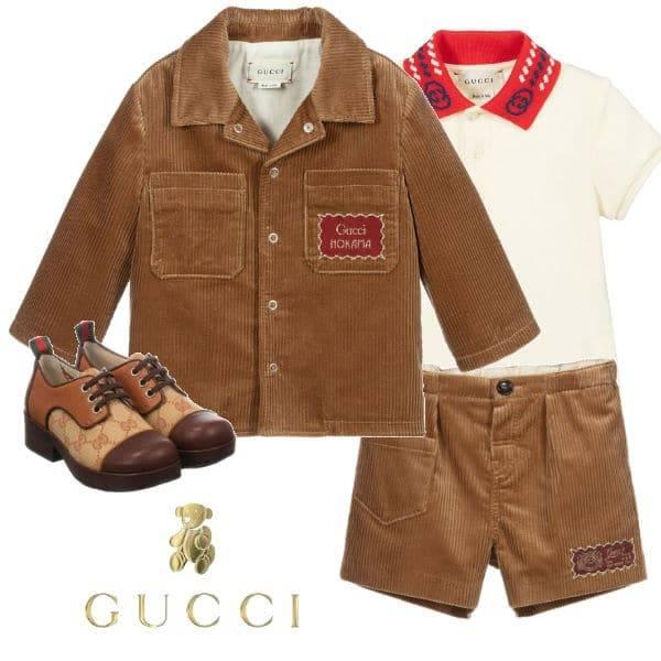 Gucci Boys Brown Corduroy Jacket Shorts