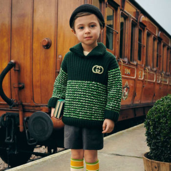 Gucci Boys Green Chunky Knit Wool Pointed Collar GG Motif Sweater
