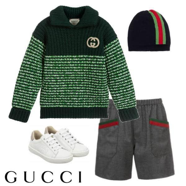 Gucci Boys Green Wool GG Sweater Grey Shorts Knit Hat