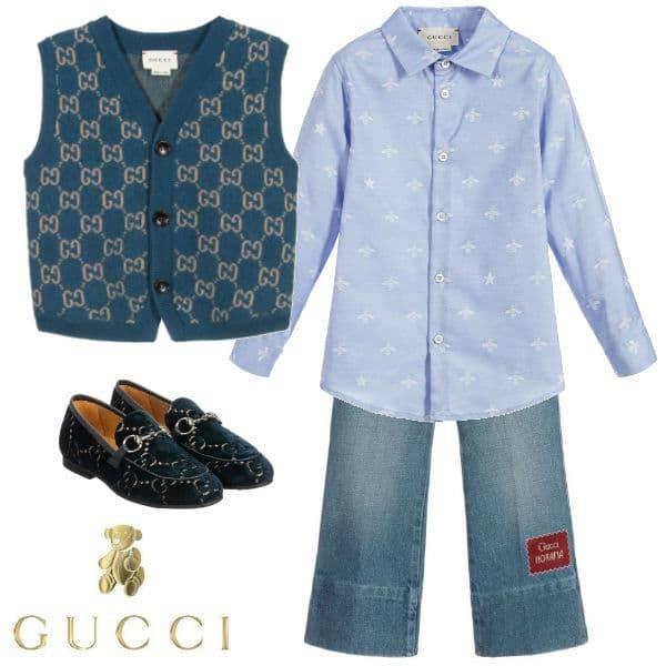 Gucci Boys Mini Me Blue Wool GG Vest Blue Denim Pants Velvet Shoes