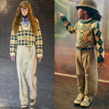 Gucci Boys Mini Me Green Beige Argyle Lions Shields Sweater