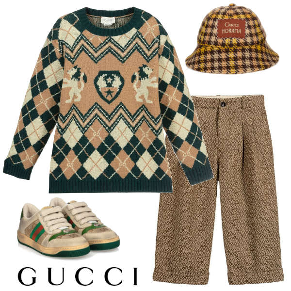 Gucci Boys Mini Me Green Beige Argyle Lions Shields Sweater GG Geometric Pants