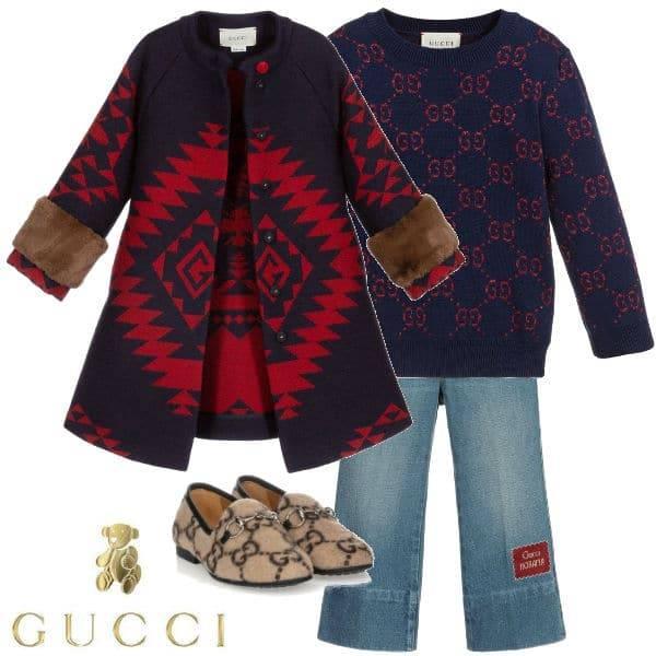 Gucci Girls Blue Geometrical Bee & Red G Logo Wool Coat Blue Sweater