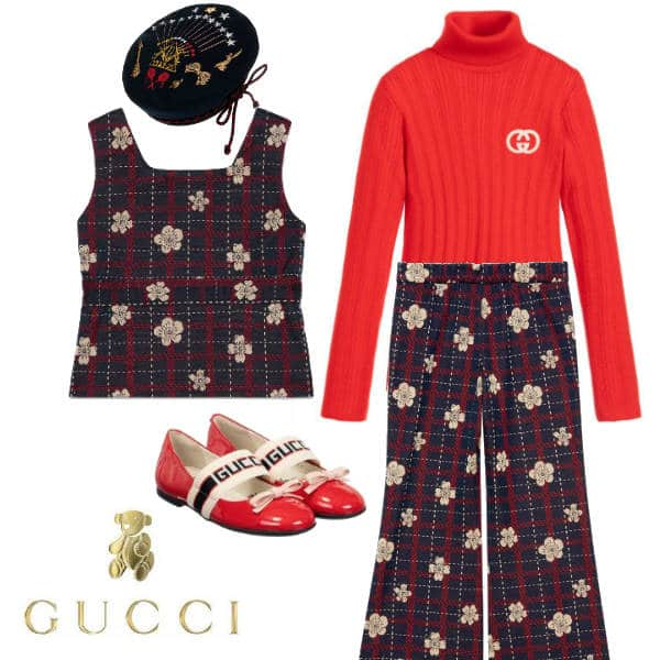 Gucci Girls Mini Me Blue & Red Check Flower Outfit Beret