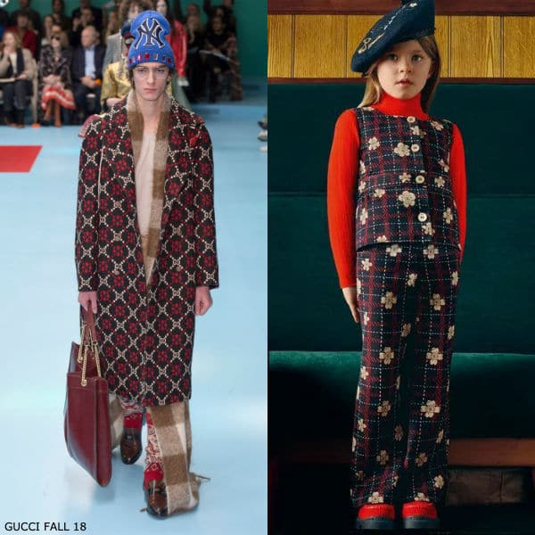 Gucci Girls Mini Me Blue & Red Check Flower Outfit