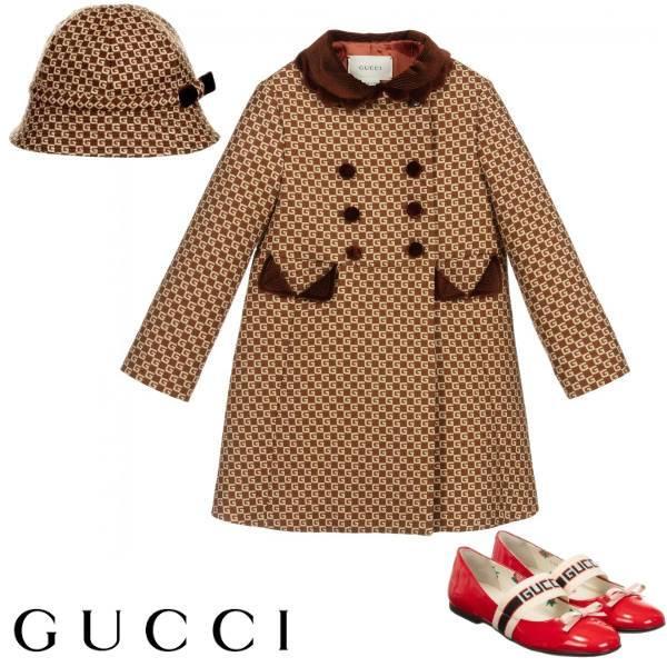 Gucci Girls Mini Me Brown Square G Logo Wool Coat Hat