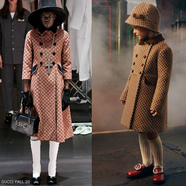Gucci Girls Mini Me Brown Square G Logo Wool Coat