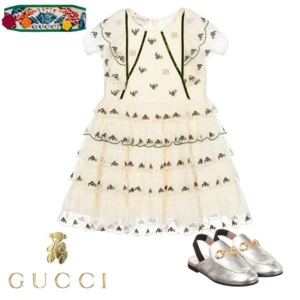 Gucci Girls Mini Me Ivory GG Cotton Tulle Flower Party Dress Silver Shoes